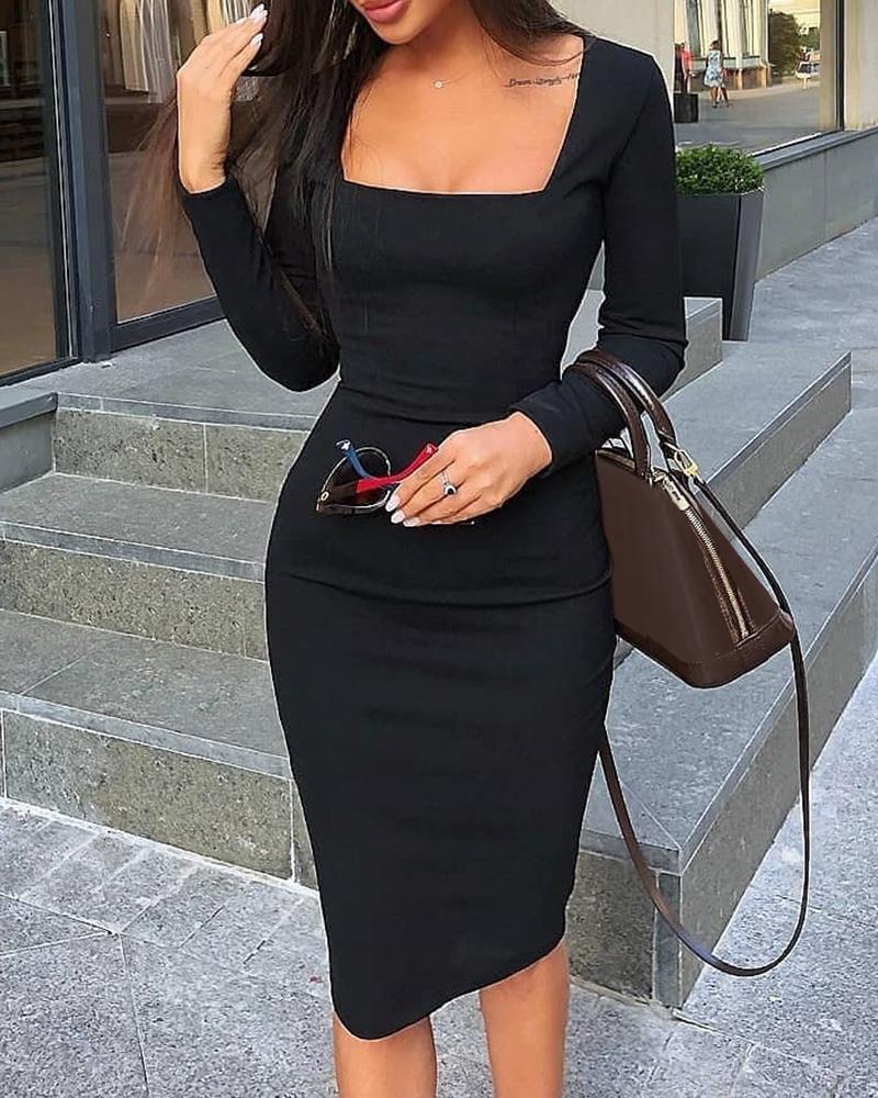 ivrose / Vestido ajustado de manga larga con cuello cuadrado