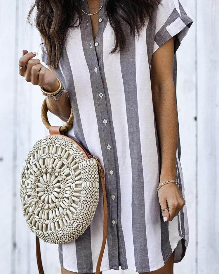Fashion Striped Button Through Casual Blouse
