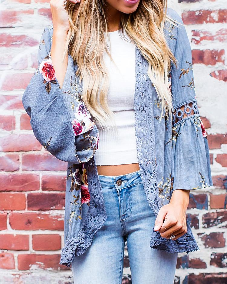 Floral Hollow Out Splicing Flare Sleeve Cardigan фото