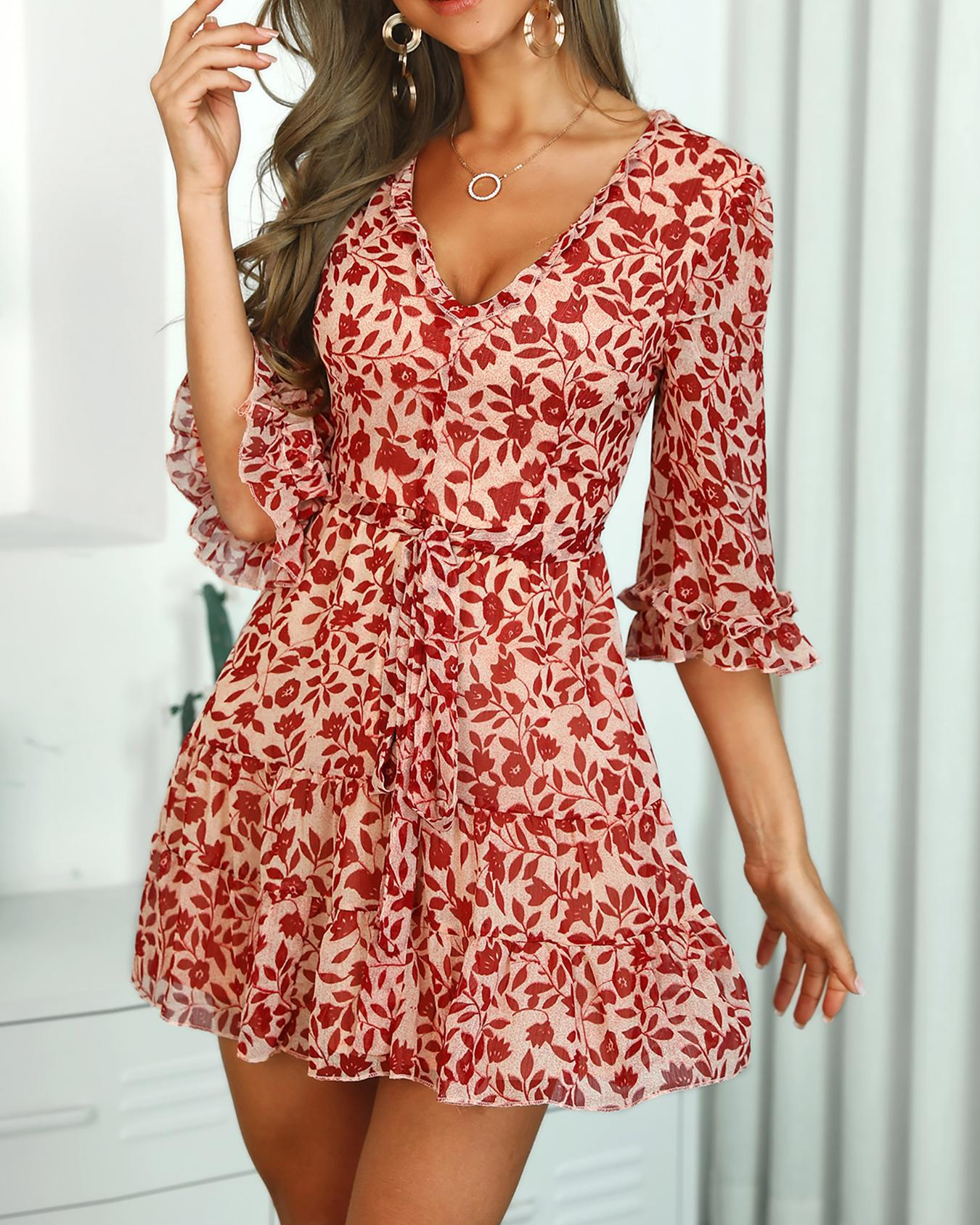 Lace-Up Back Floral Print Dress, Red