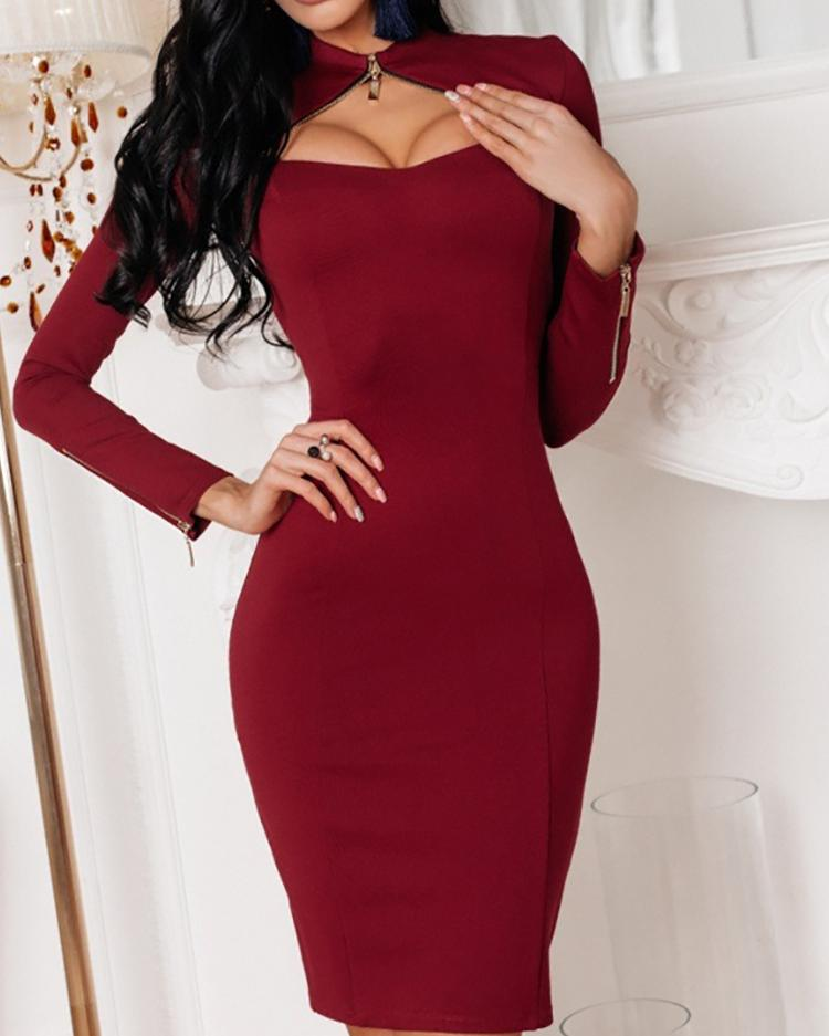 Solid Zipper Design Cutout Bodycon Dress, Wine red