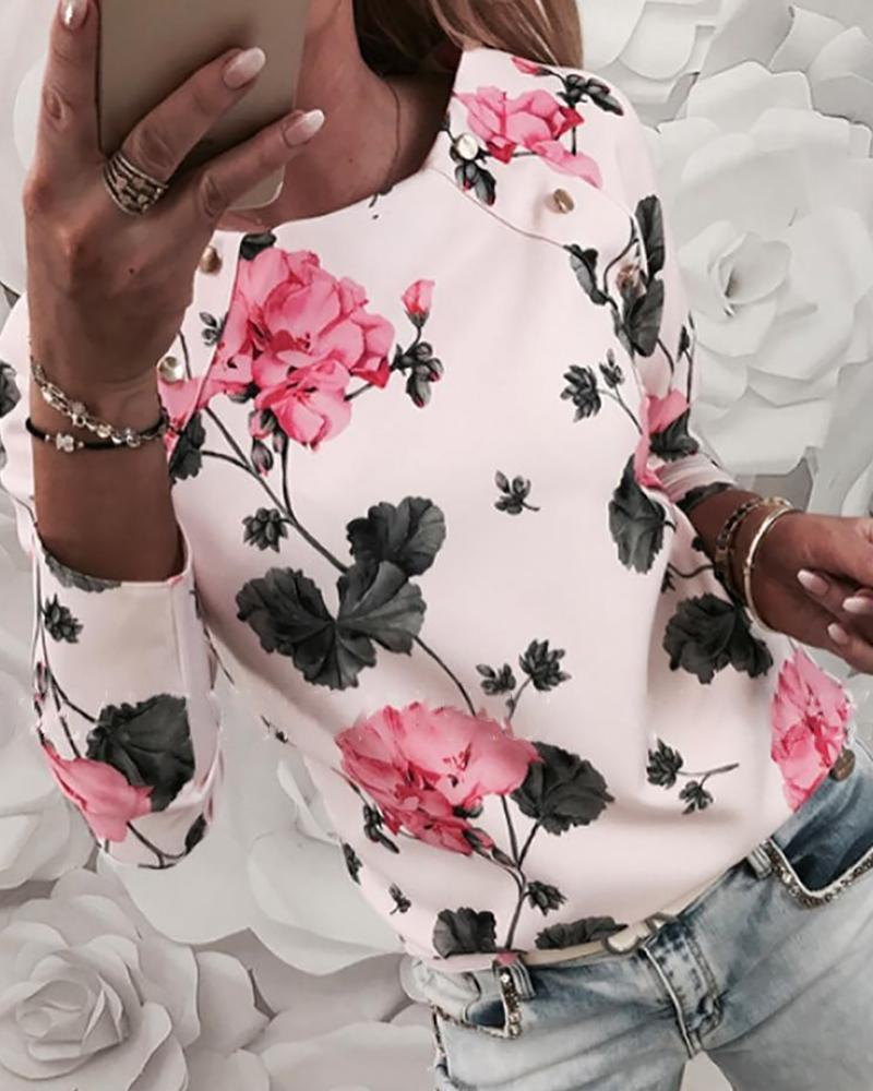 Floral Print Long Sleeve Blouse фото