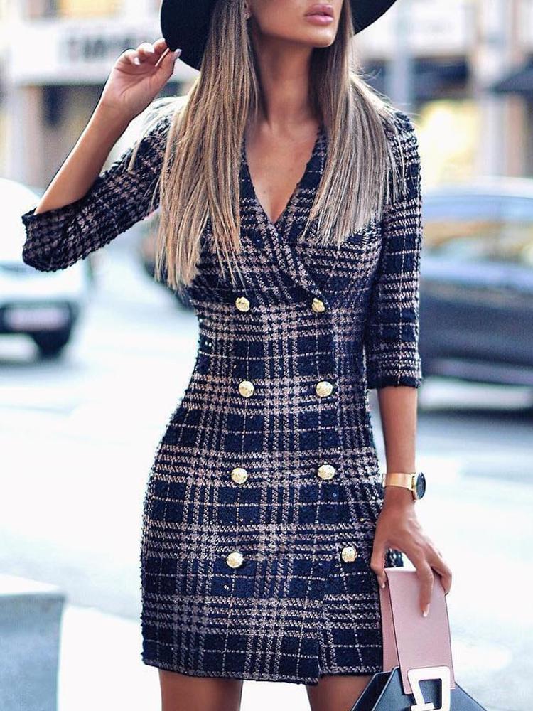 Plaid Double Breasted Tweed Blazer Dress фото