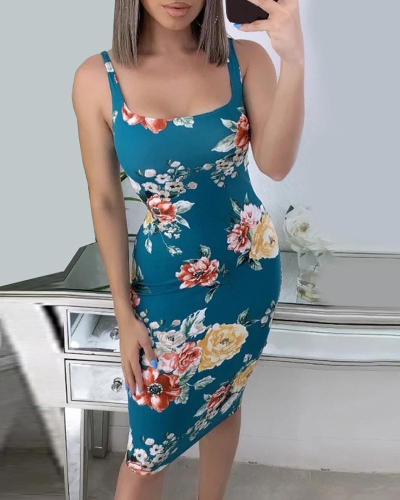 Floral Print Thick Strap Midi Dress фото