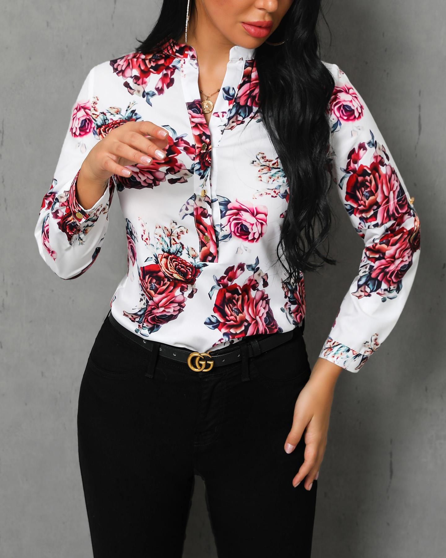 Floral Print Long Sleeve Casual Blouse, Yellow&white