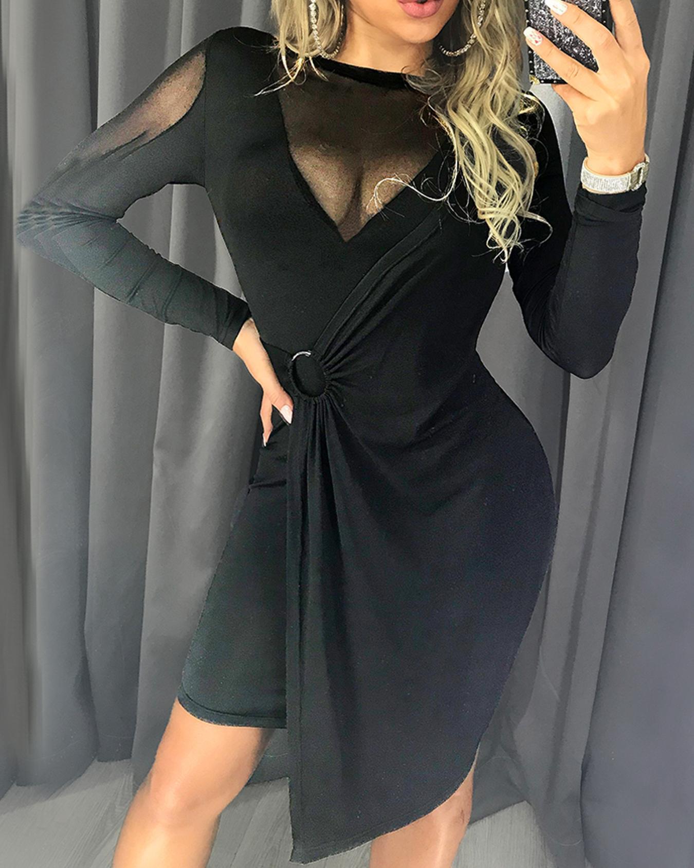 boutiquefeel / Sheer Mesh Insert O-Ring Vestido Irregular amassado