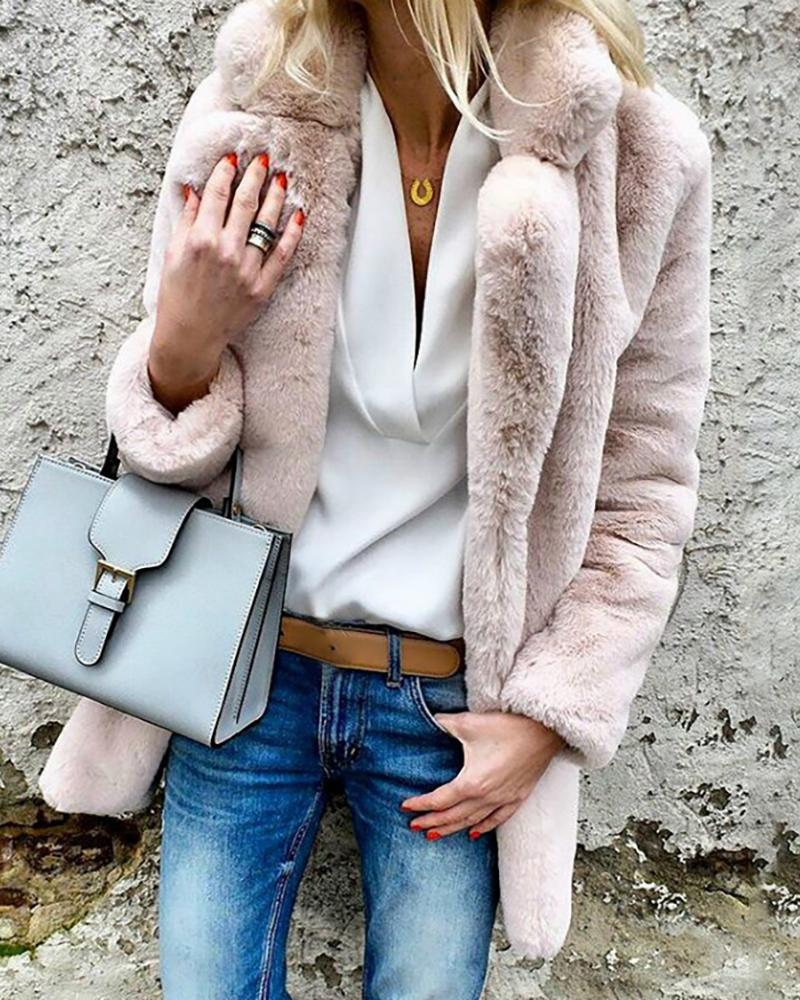 Solid Open Front Long Sleeve Fluffy Coat фото