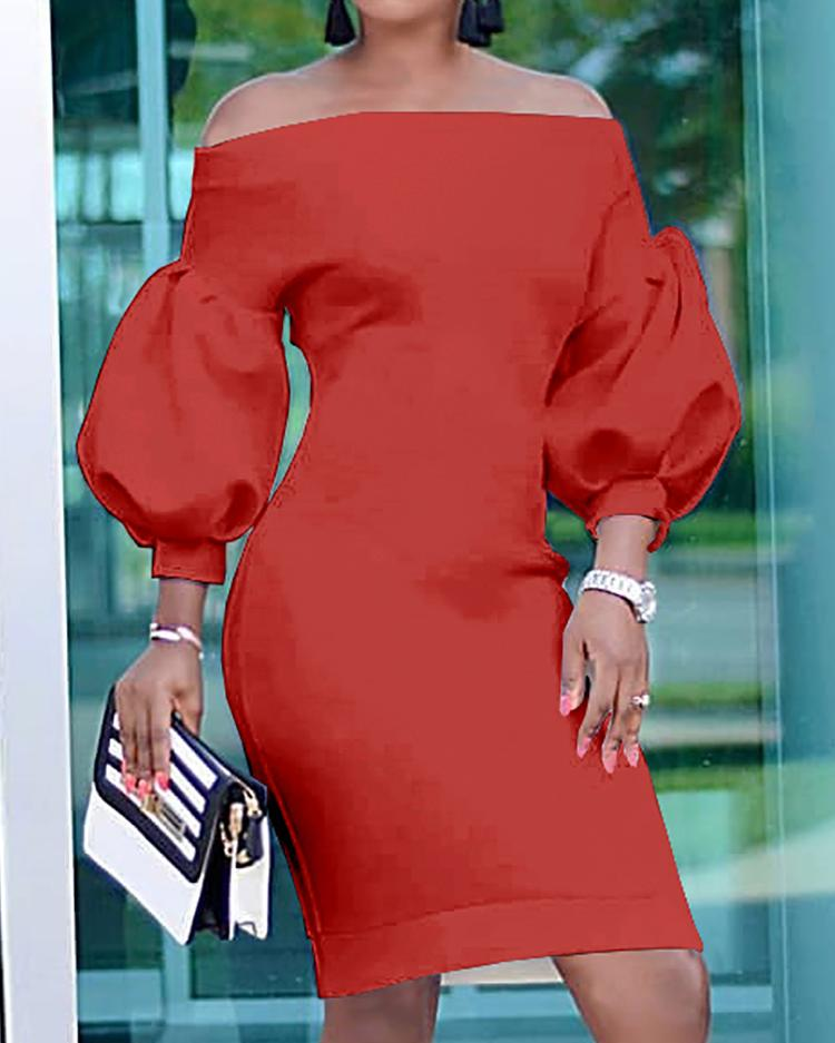 Puff Sleeve Off Shoulder Bodycon Dress