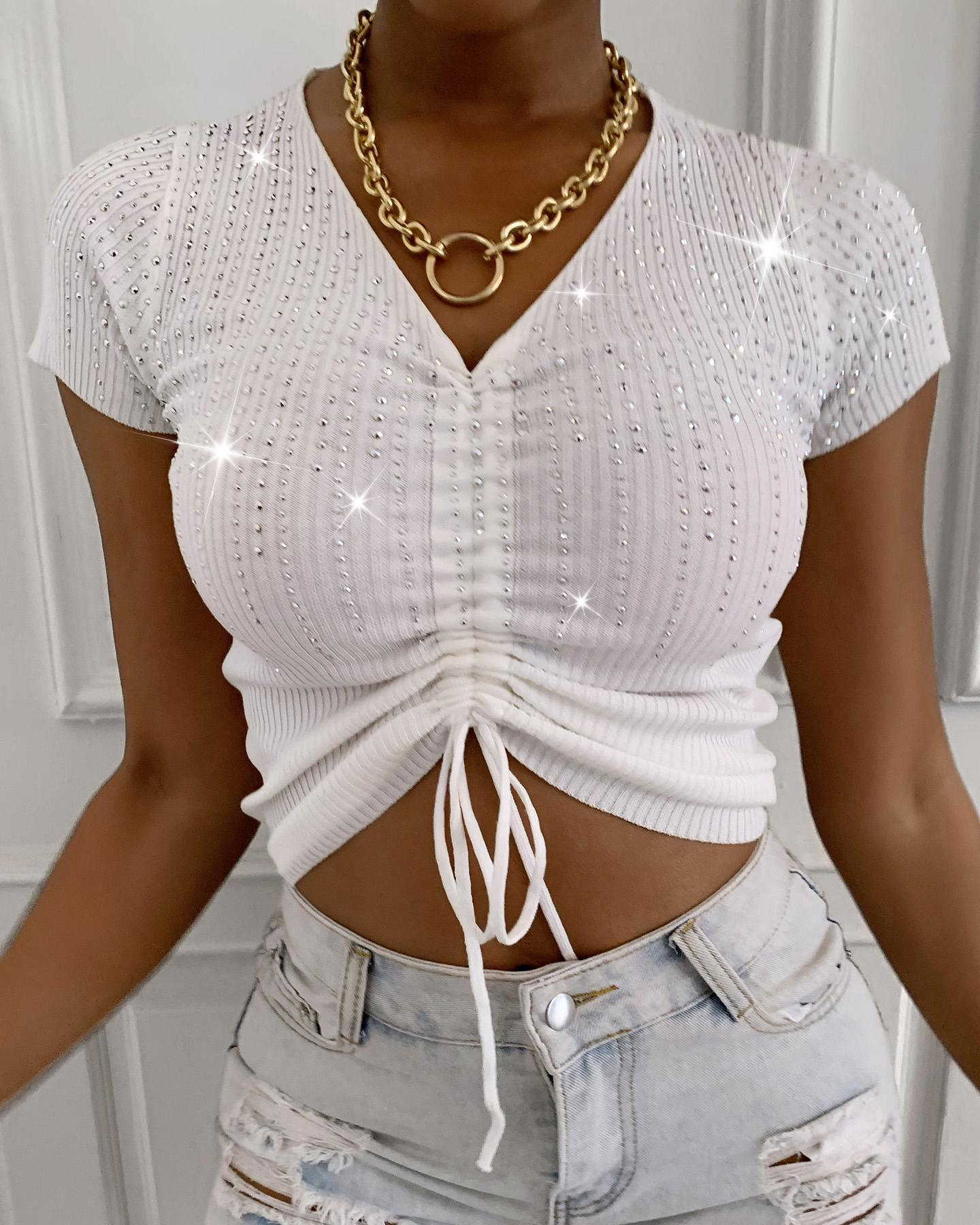 Studded Drawstring Glitter Knit Crop Top фото