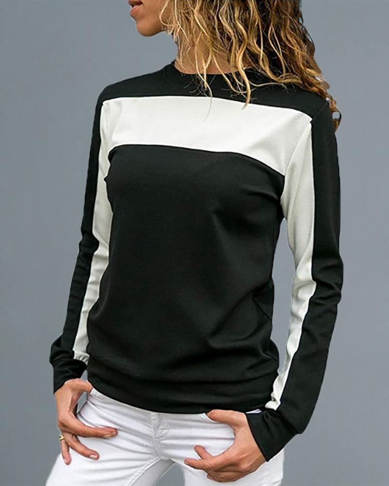 ivrose / Cuello redondo Colorblock Insertar camiseta de manga larga