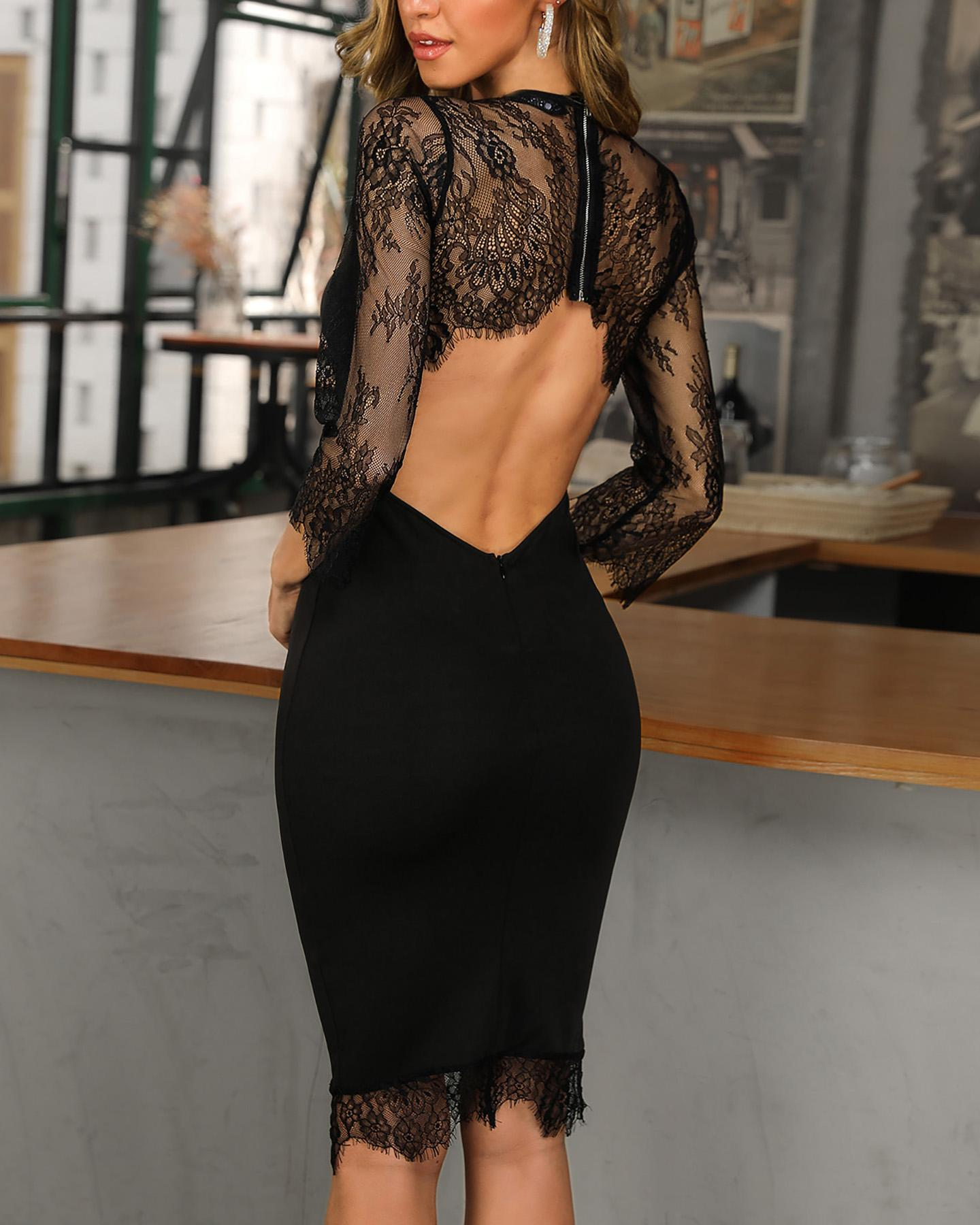 Open Back Eyelash Lace Insert Bodycon Dress