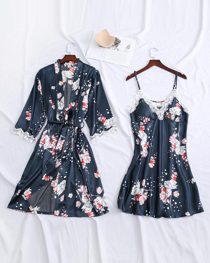 Floral Print Robe & Camisole фото