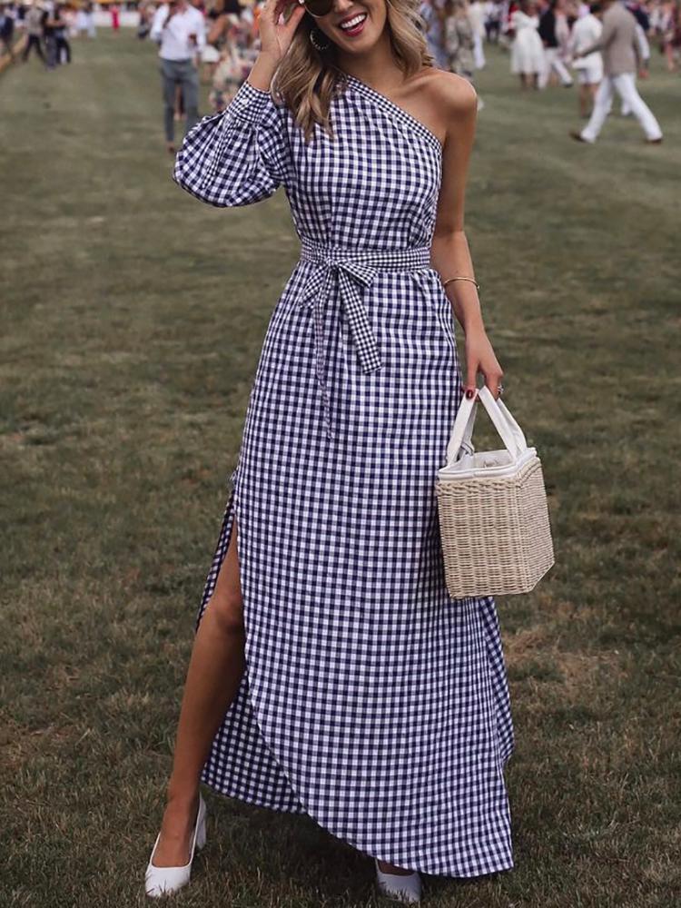 One Shoulder Grid Print Belted Maxi Dress