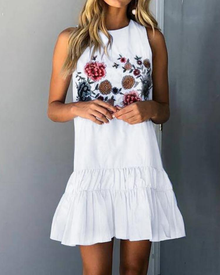 Floral Ruffles Hem Sleeveless Mini Dress фото