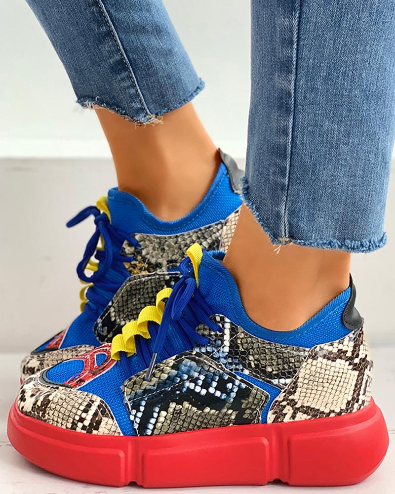 joyshoetique / Lace-Up Snakeskin Print Muffin Casual Sneakers