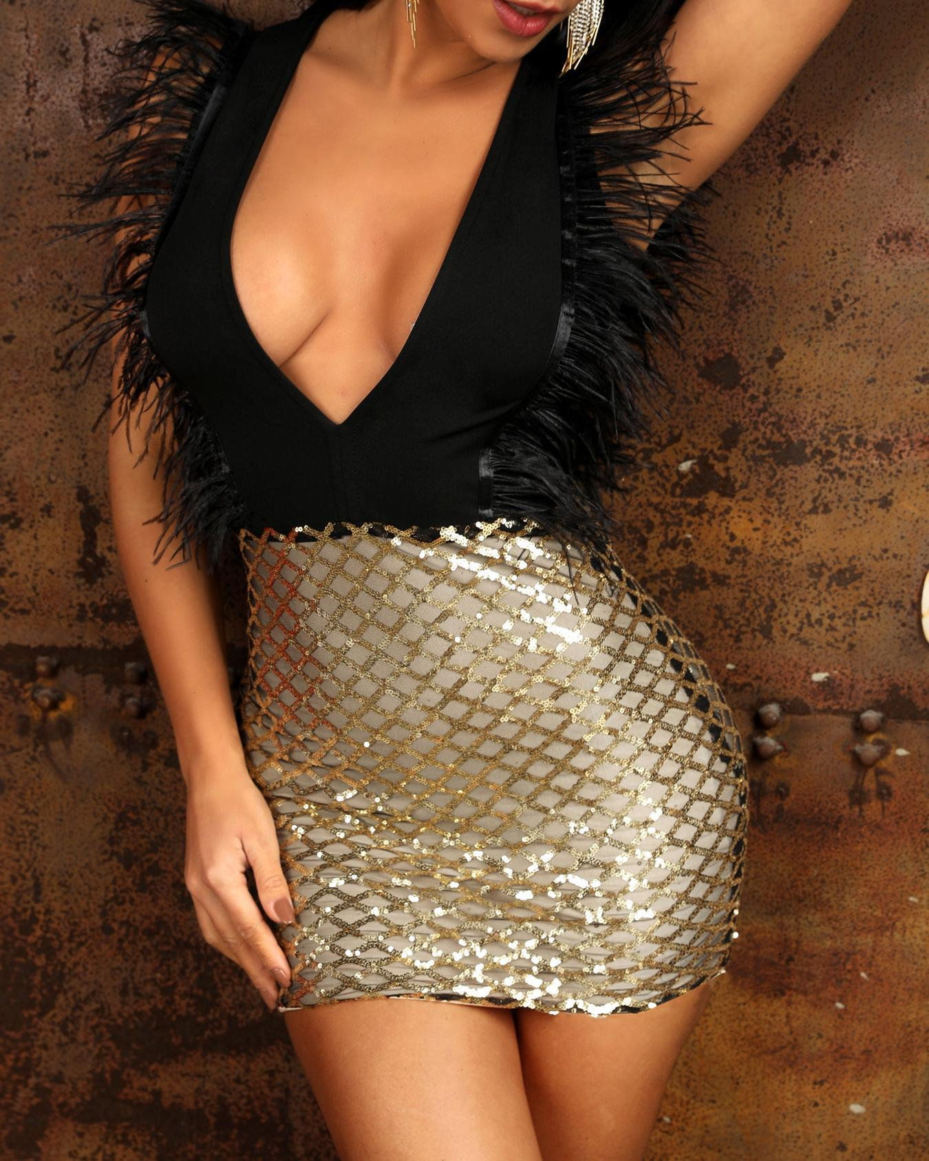 Feather Embellished Glitter Plunge Party Dress