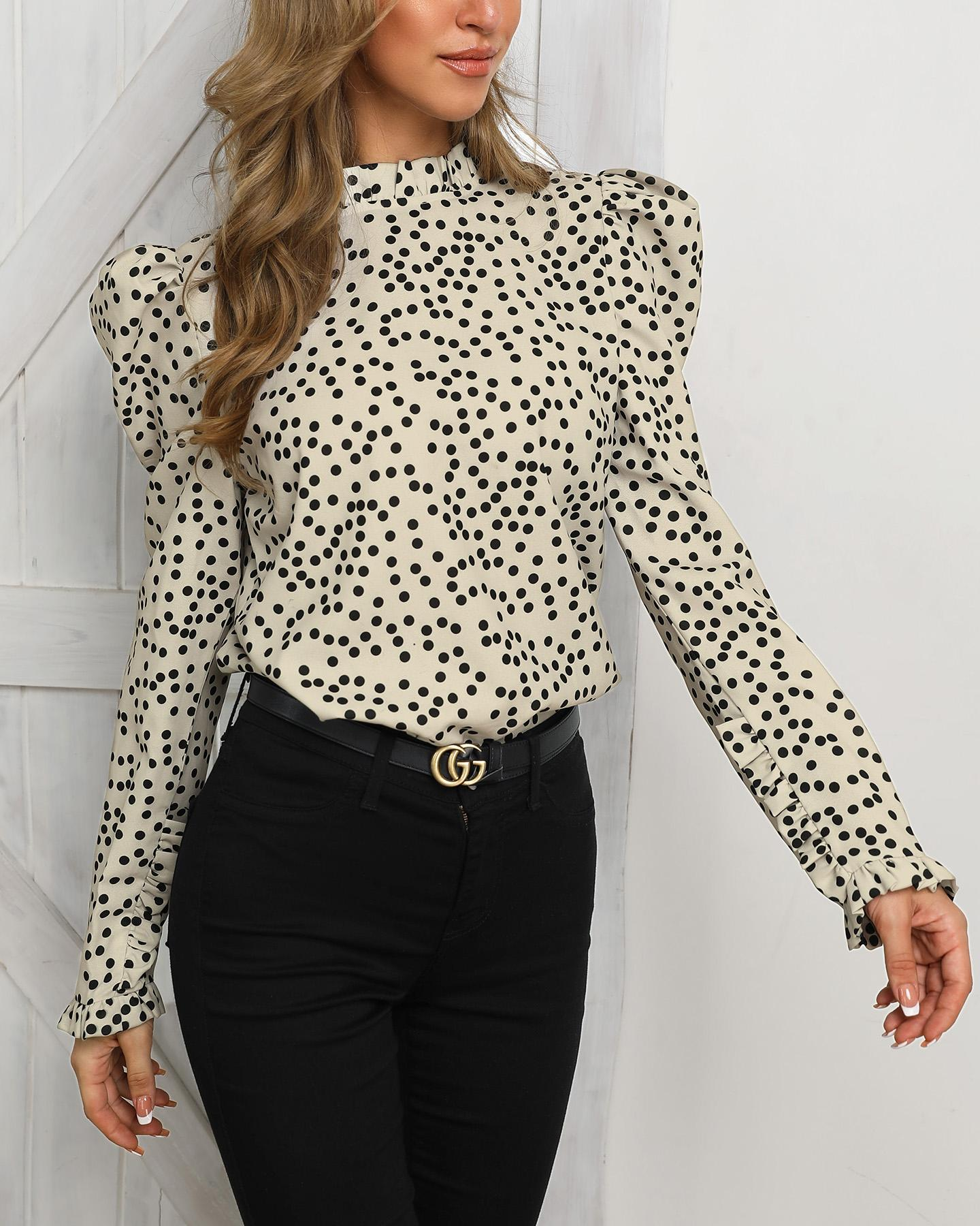 Long Sleeve Dot Frill Hem Casual Blouse