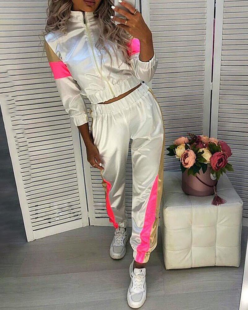 joyshoetique / Striped Tape Colorblock Zip Top & Pants Set
