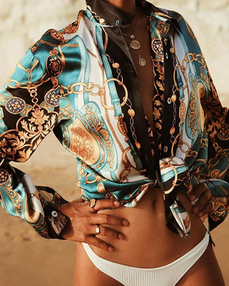 chicme / Camisa de manga larga estampada con cuello en V retro