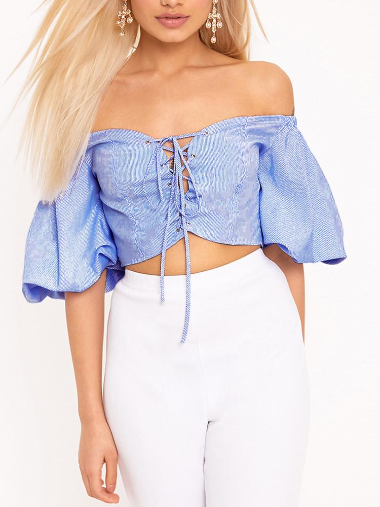 Lace-Up Strapless Flare Sleeve Cropped Top