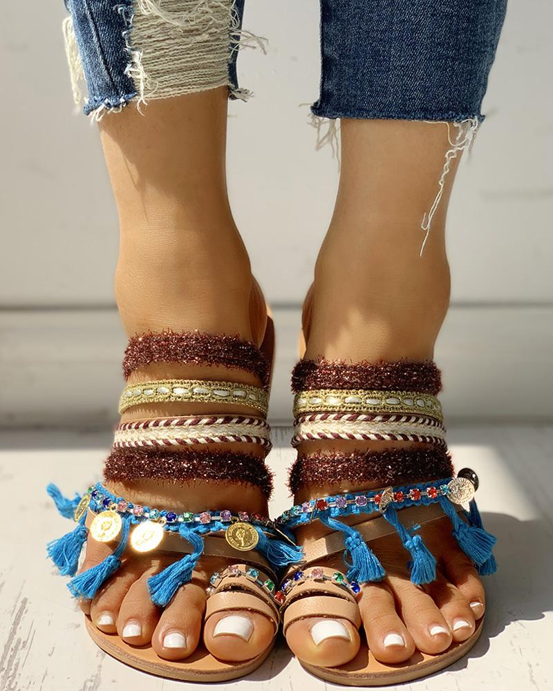 Fluffy Studded Tassel Design Toe Ring Sandals фото