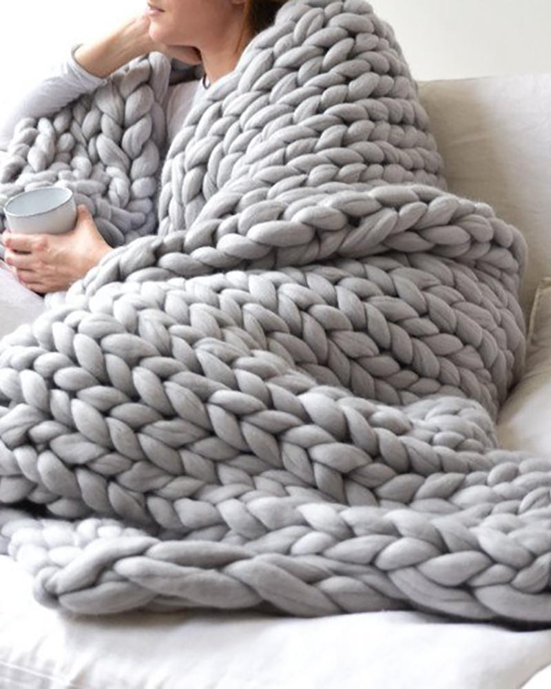 Plain Soft Handmade Knitting Blanket