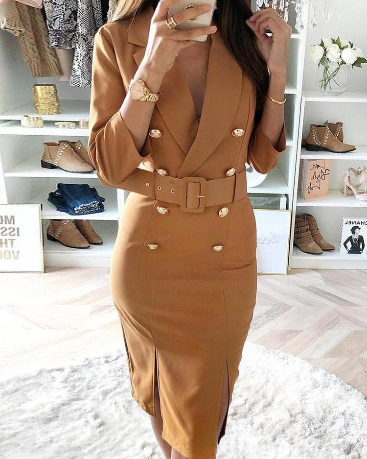 chicme / Double-Breasted Belted Slit Blazer Dress