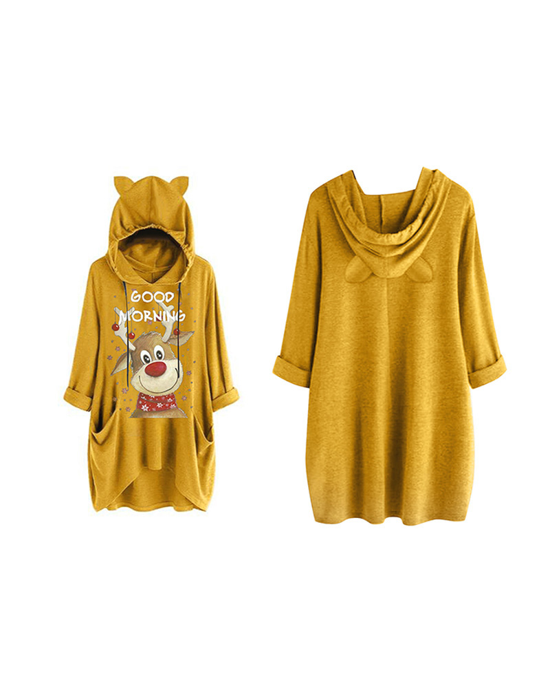 chicme / Christmas Letter Moose Print Hooded Top