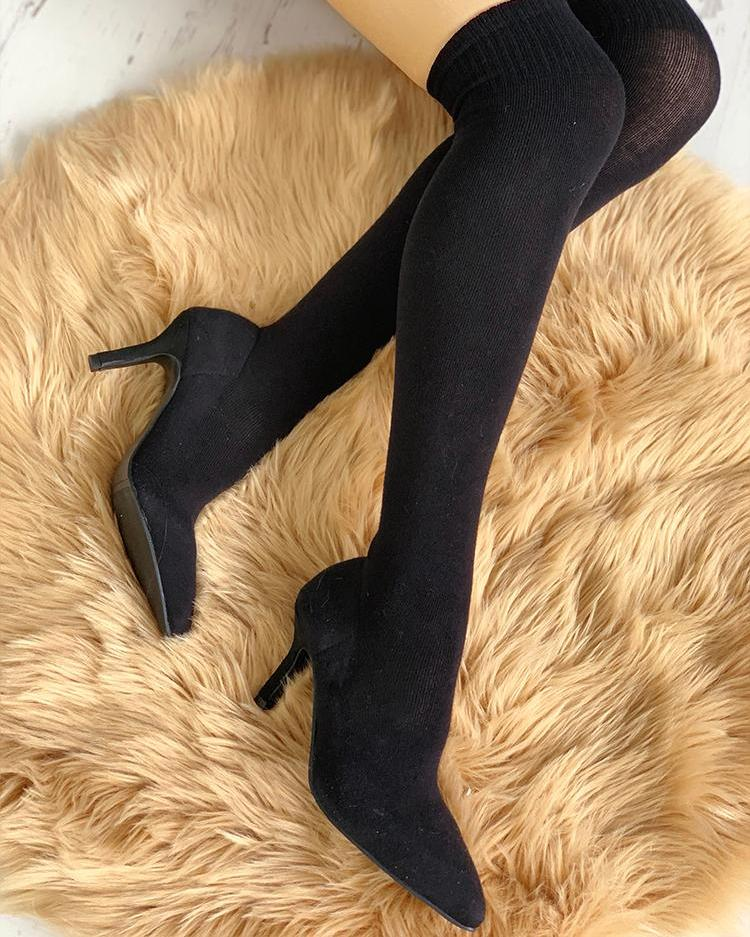 Pointed Toe Over The Knee Thin Heeled Sock Boots