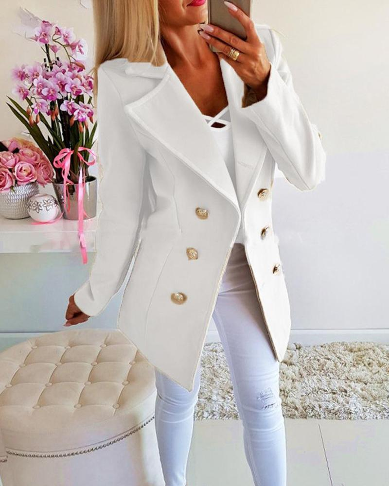 Solid Long Sleeve Buttoned Blazer фото