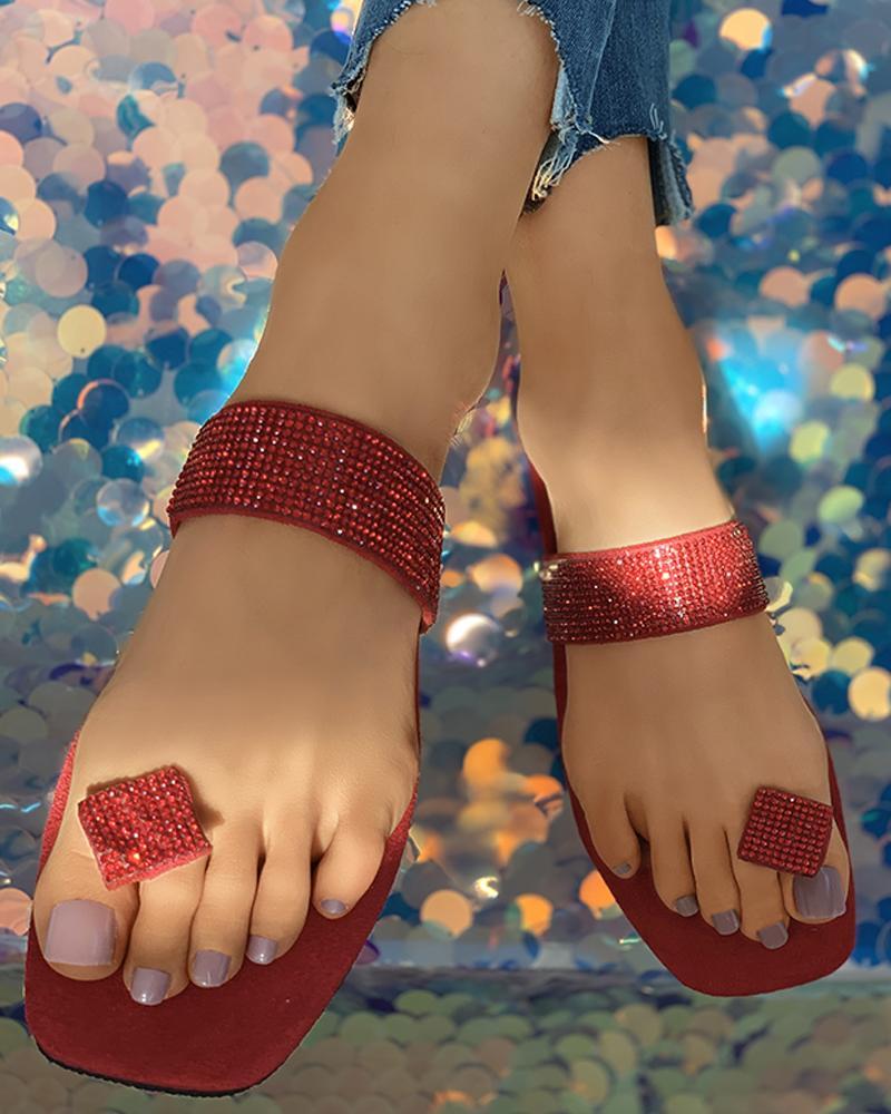 Studded Toe Post Casual Flat Sandals фото