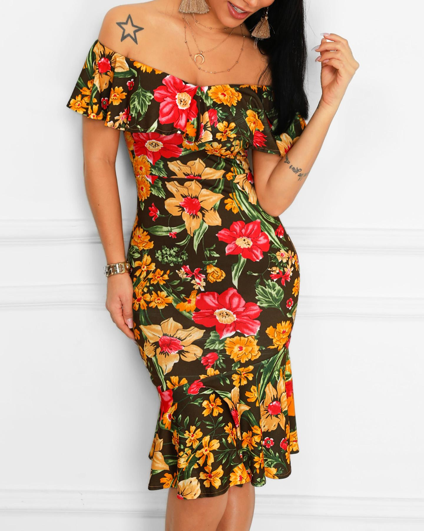 Floral Print Ruffles Fold-Over Bodycon Dress фото
