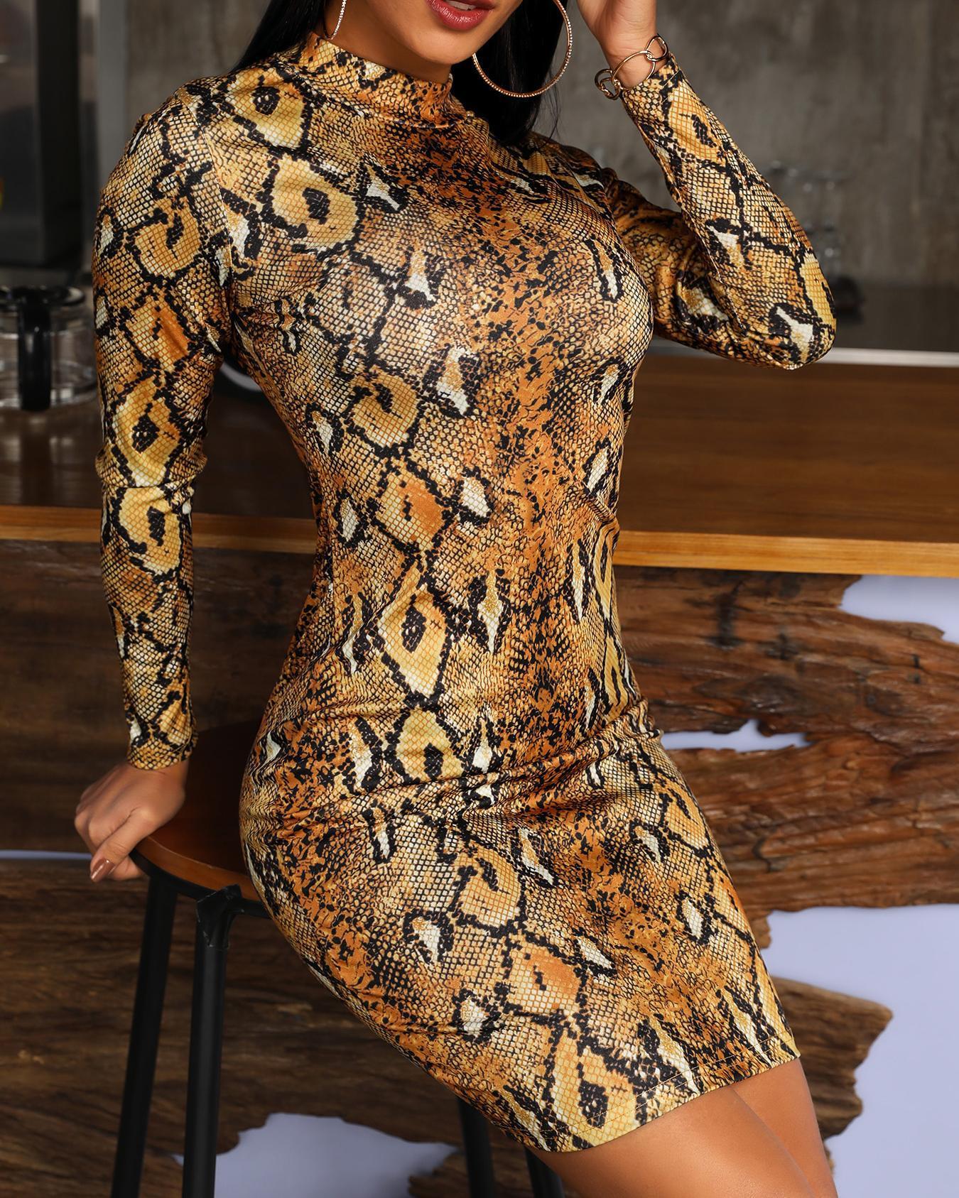 Snakeskin Print Long Sleeve Bodycon Dress фото
