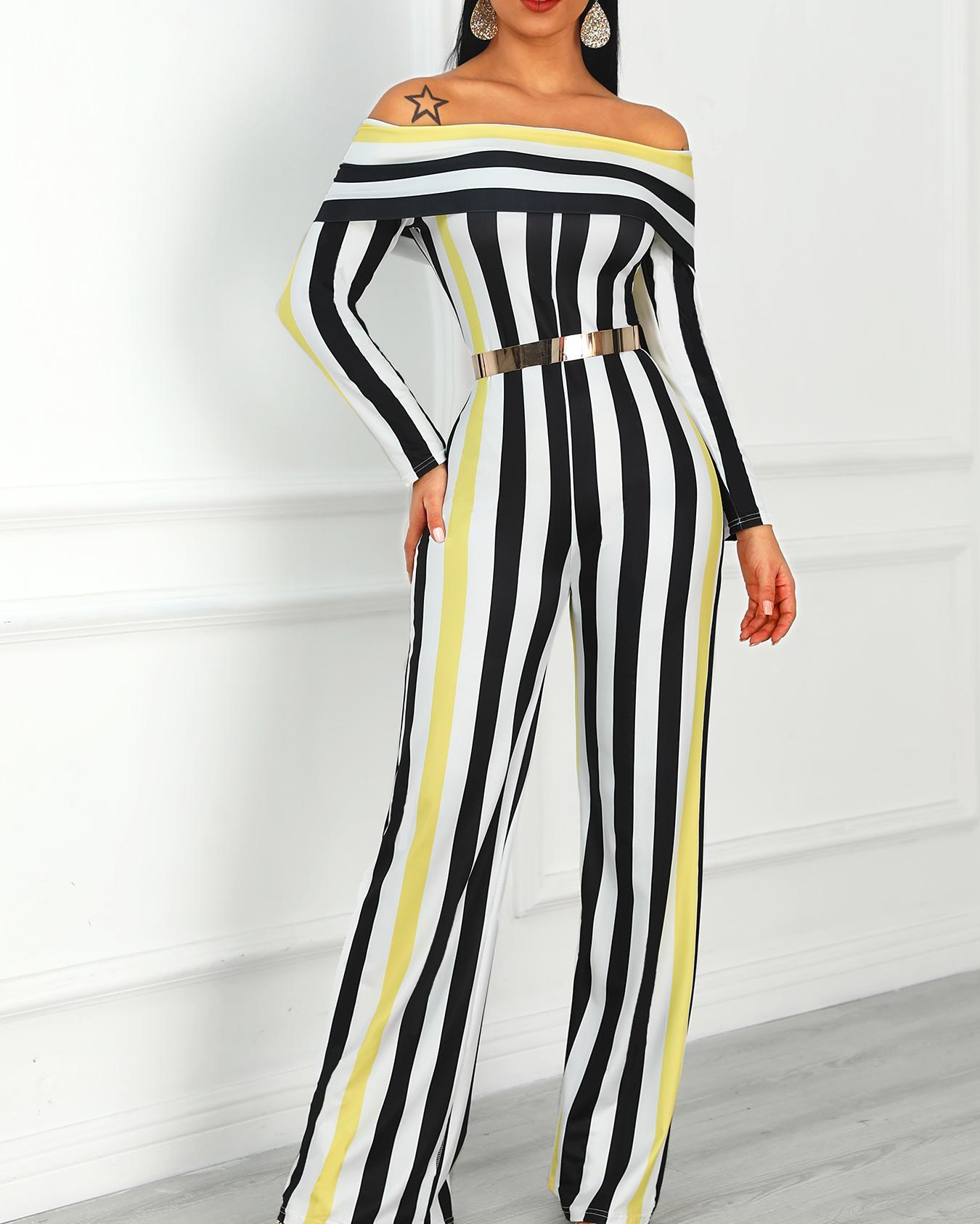 Contrast Stripes Fold-Over Wide Leg Jumpsuit фото
