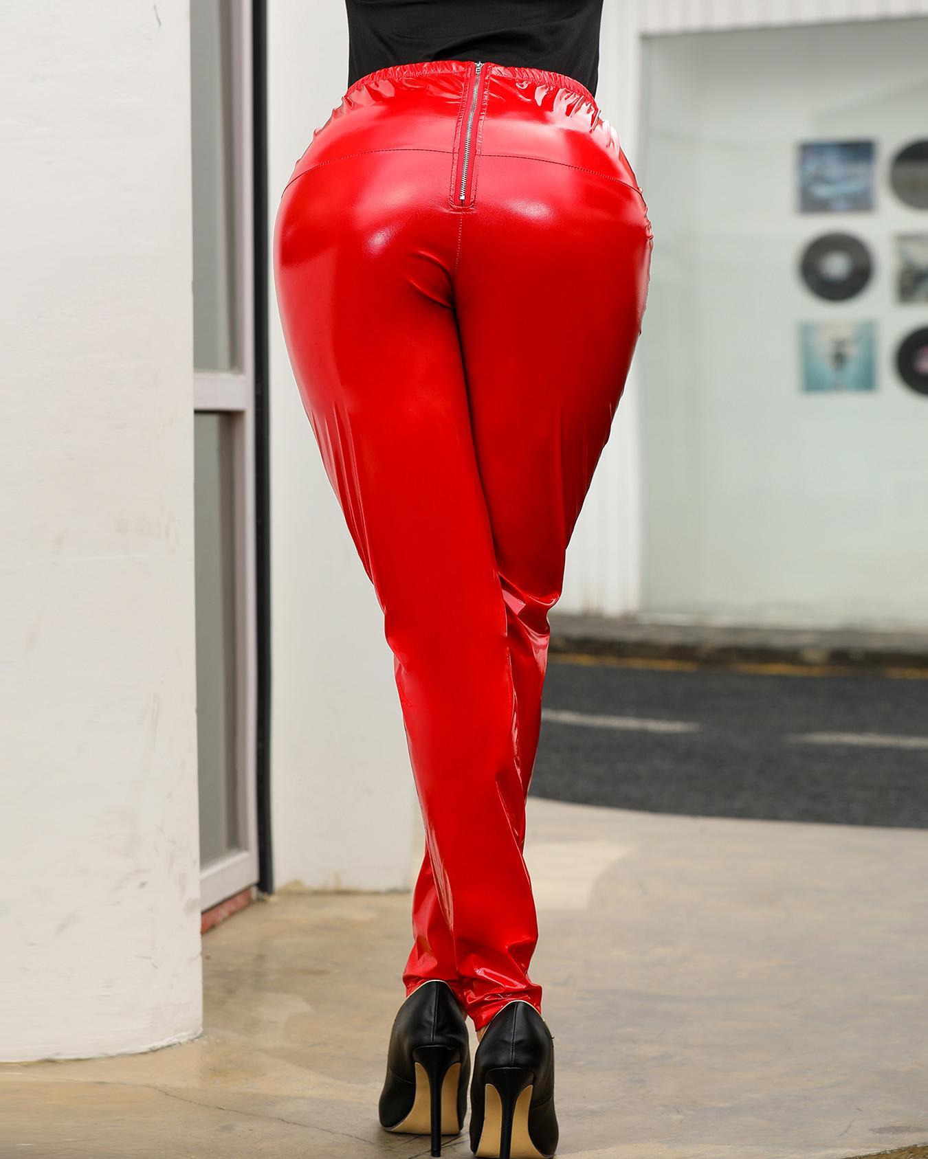 High Waist PU Pants фото