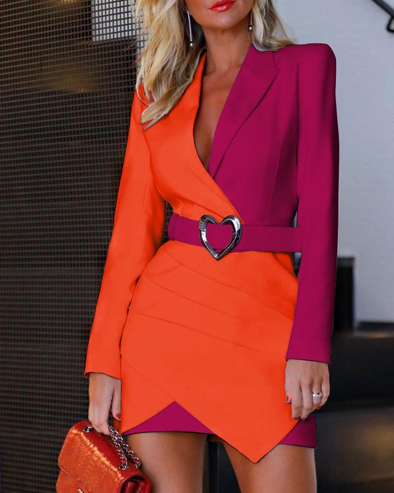 chicme / Vestido estilo blazer irregular con pliegues en bloques de color