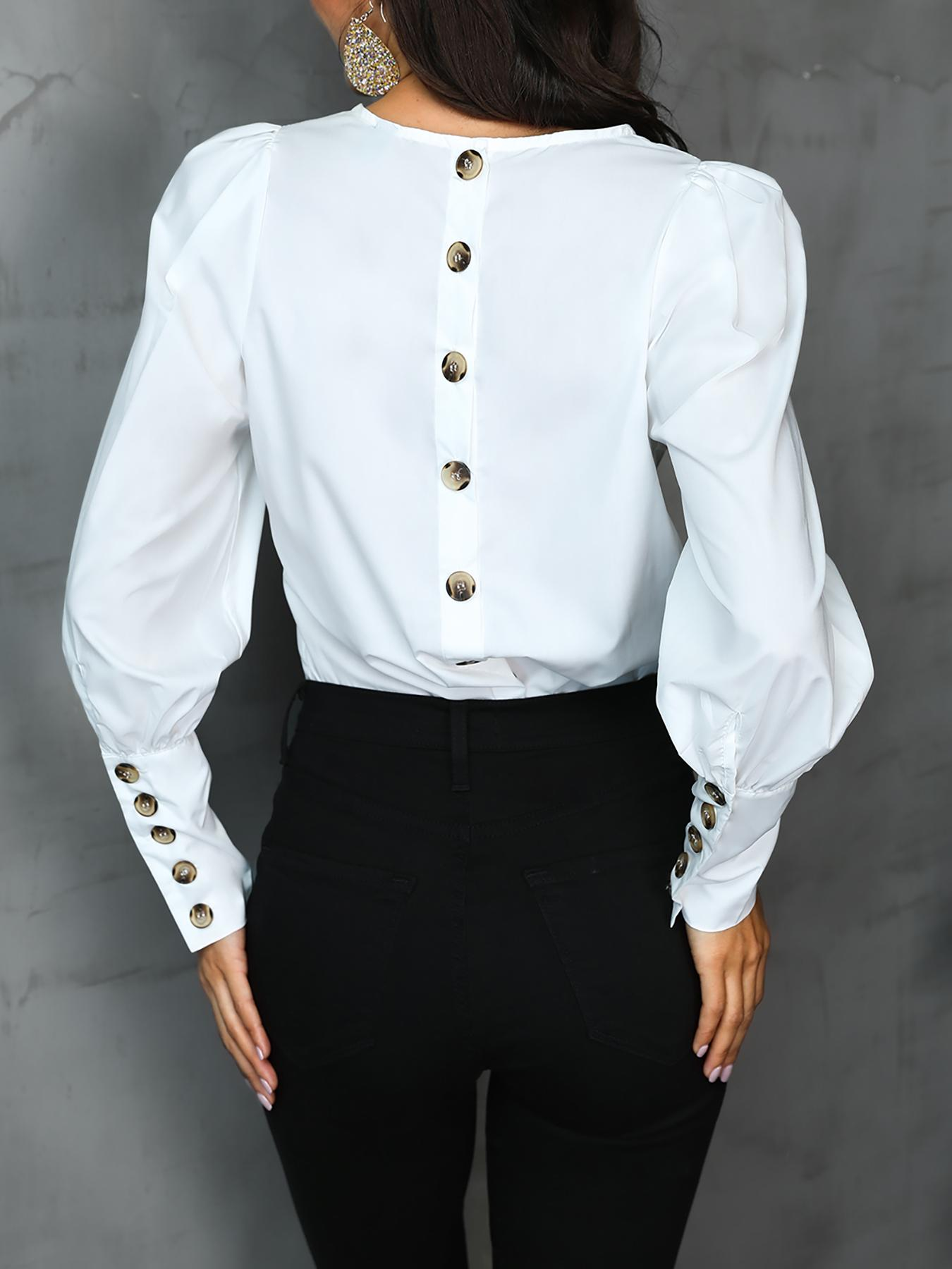 Solid Button Design Long Sleeve Blouse, White
