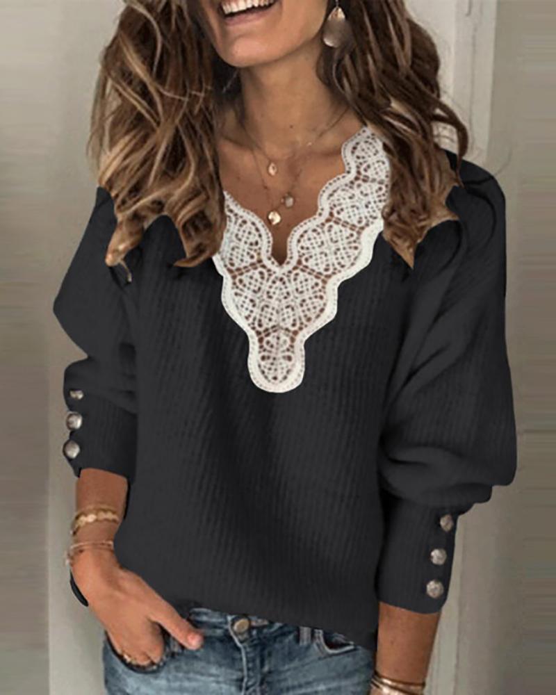 Lace Trim Button Design Lantern Sleeve Sweater
