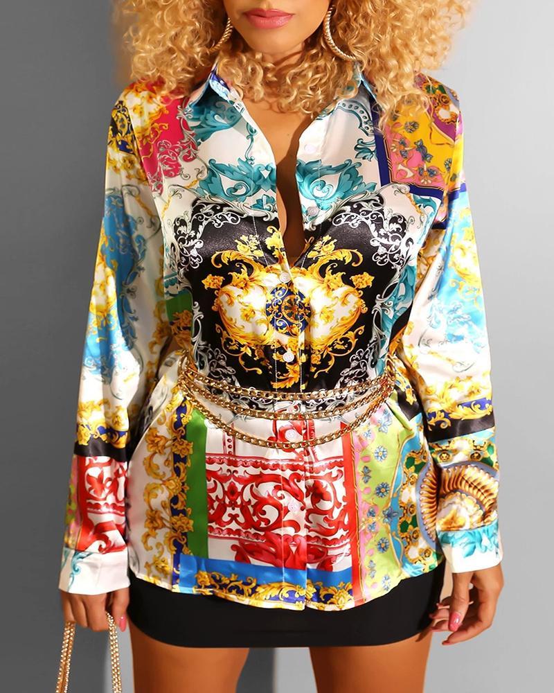 chicme / Turn-down Collar Retro impressão camisa vestido abotoado