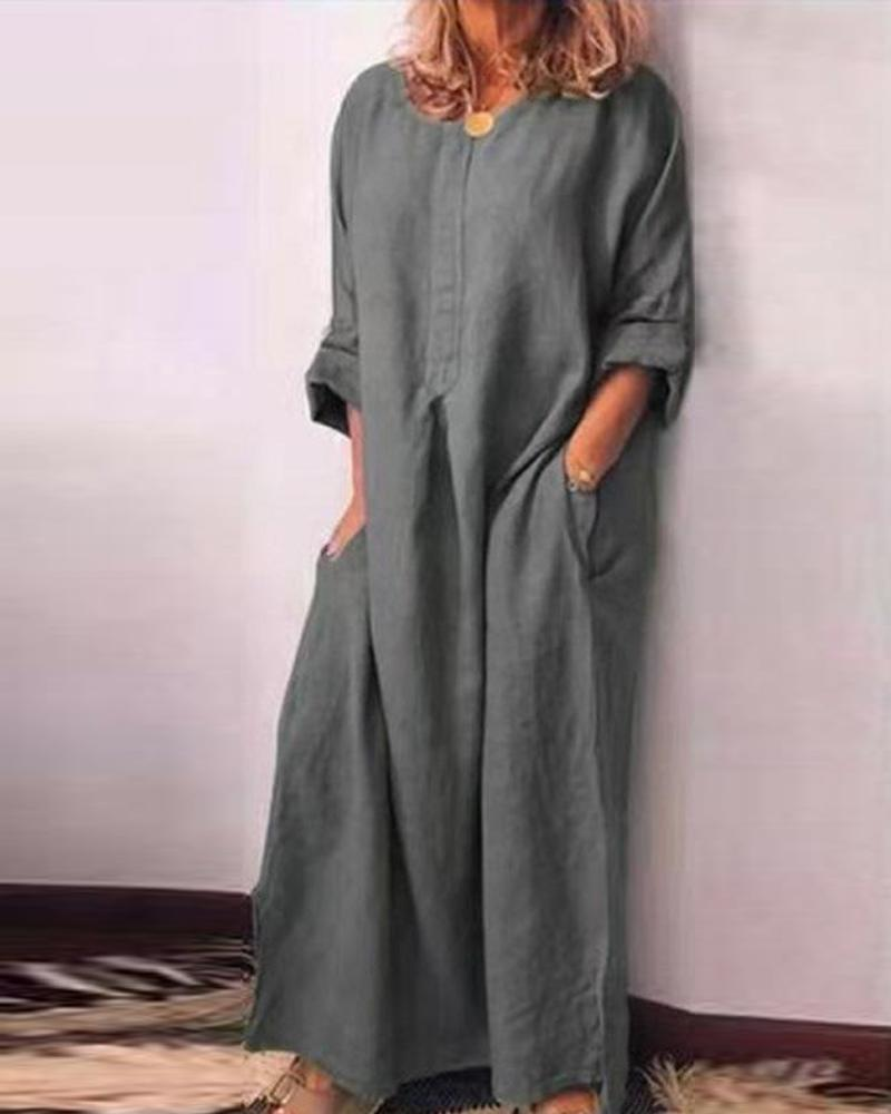 Double Pocket Long Sleeve Maxi Dress фото