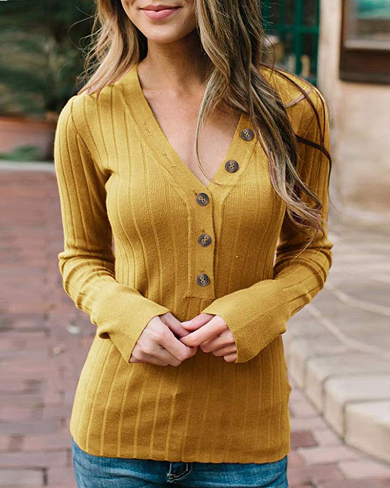 Button Design Long Sleeve Knit Top фото