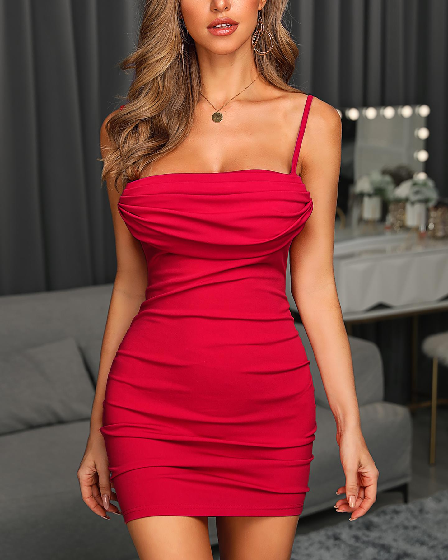 Solid Bodycon Ruched Mini Dress фото