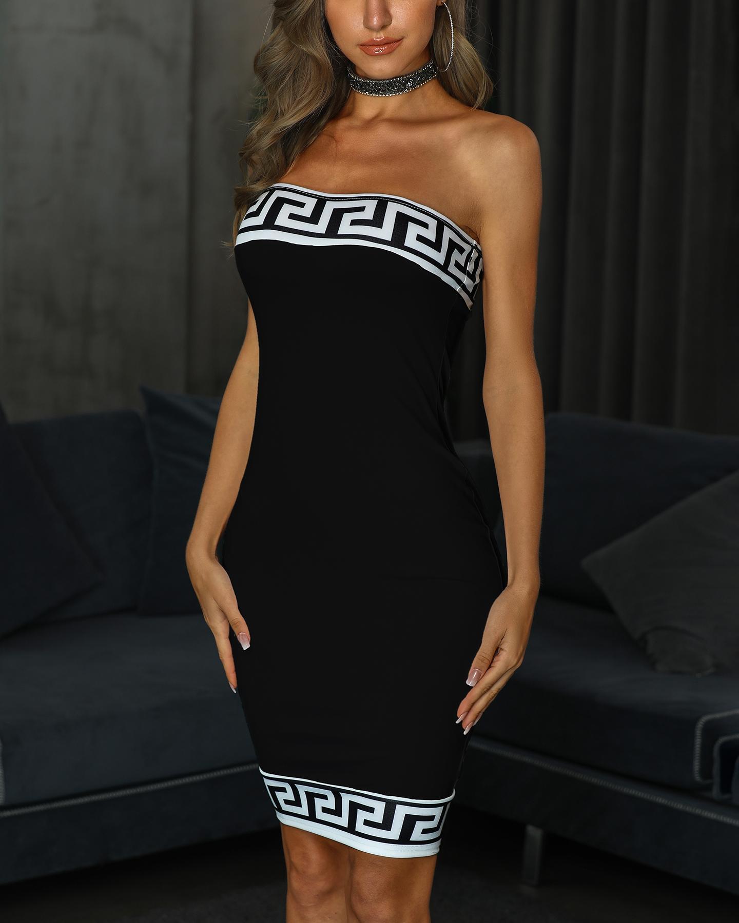 Greek Fret Inspired Tube Bodycon Dress