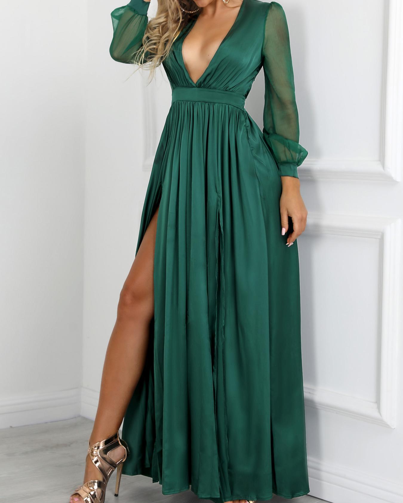 Plunge Lantern Sleeve Pleated Slit Evening Dress, Green