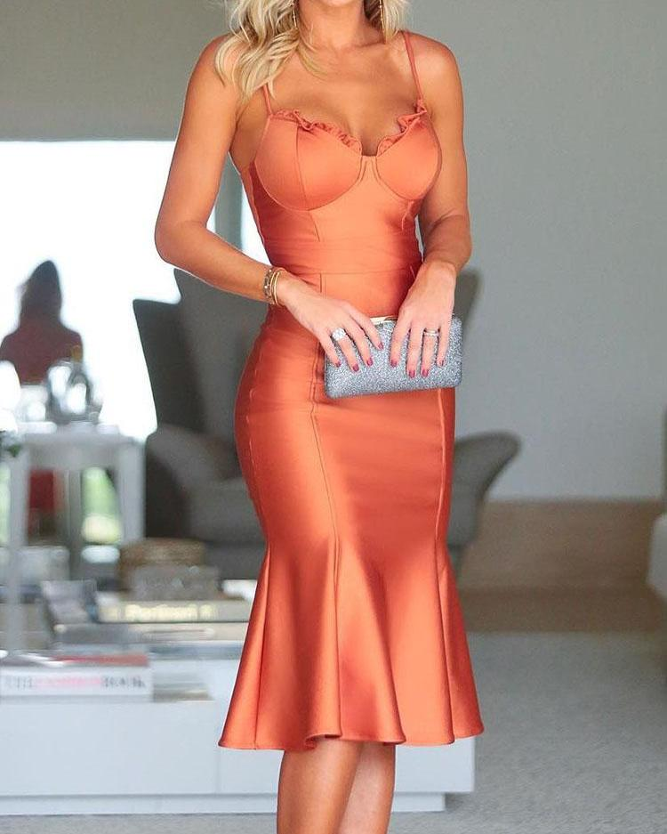 ivrose / Spaghetti Strap Fishtail Hem vestido de festa