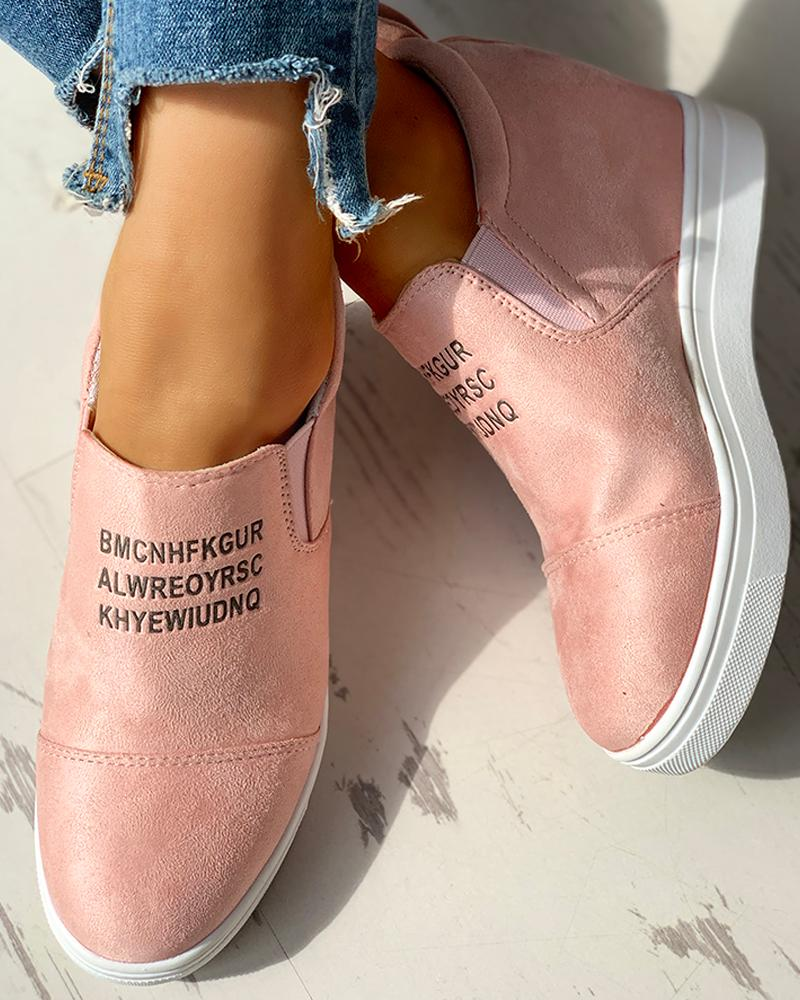 Suede Letter Pattern Casual Sneakers, Pink