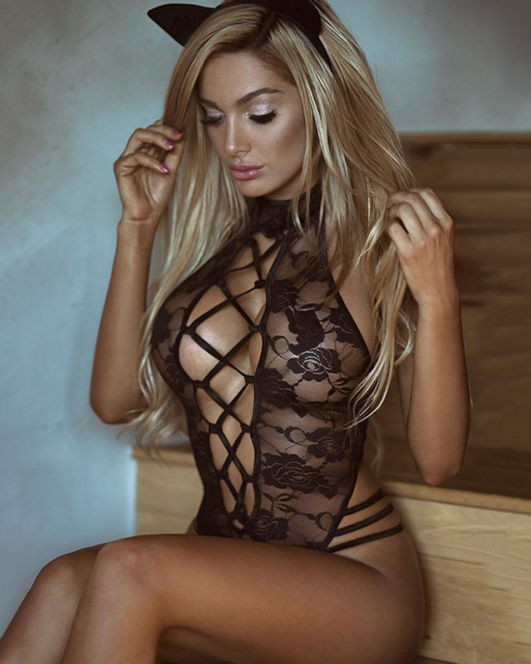 Caged Sheer Lace Cutout Lingerie Costumes фото