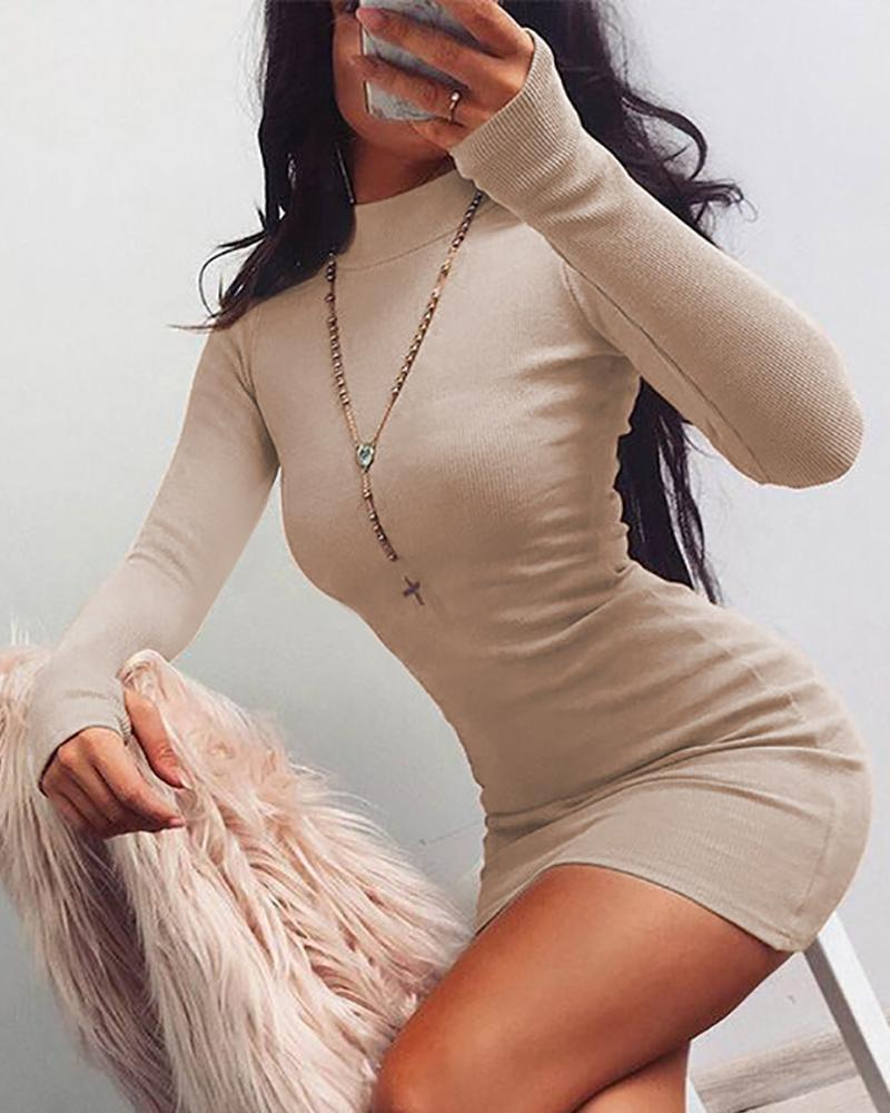 Mock Neck Long Sleeve Mini Dress фото