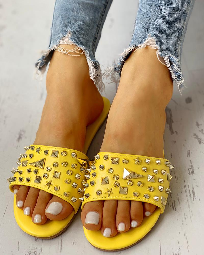 Rivet Design Casual Flat Sandals фото