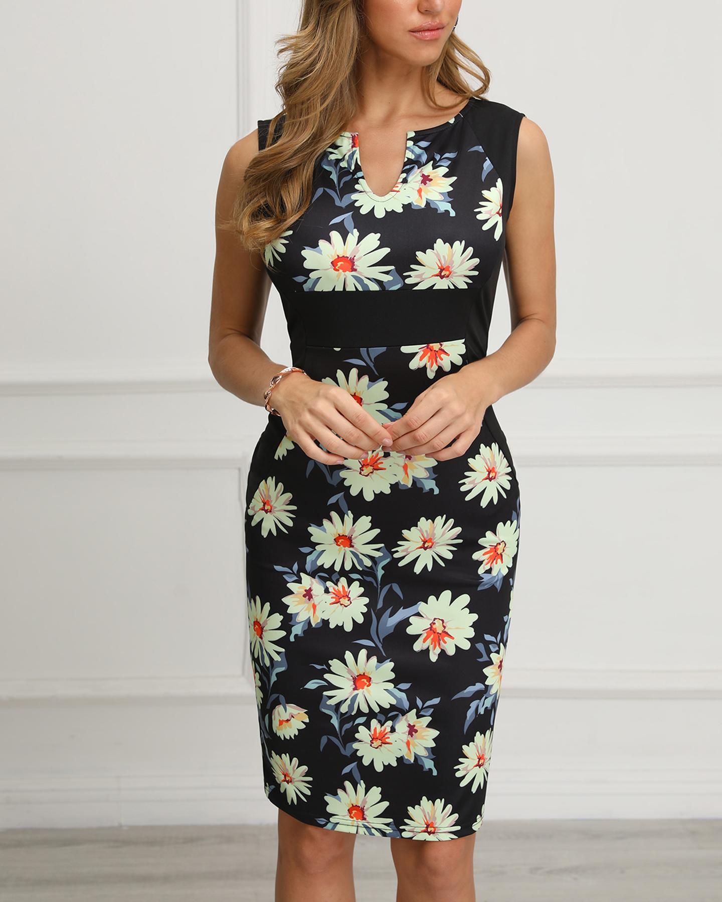 boutiquefeel / Daisy Imprimir Inserir V-Cut Bodycon Dress
